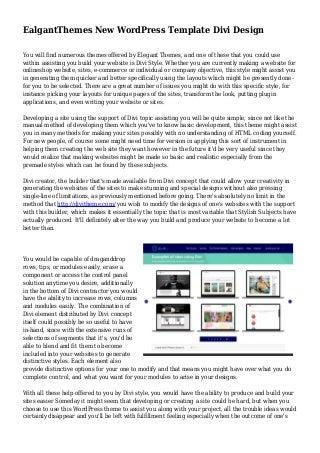 EalgantThemes New WordPress Template Divi Design