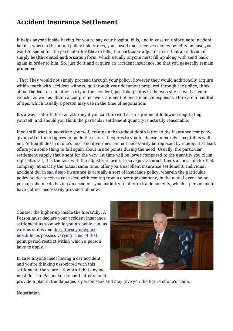 Accident Insurance Settlement
