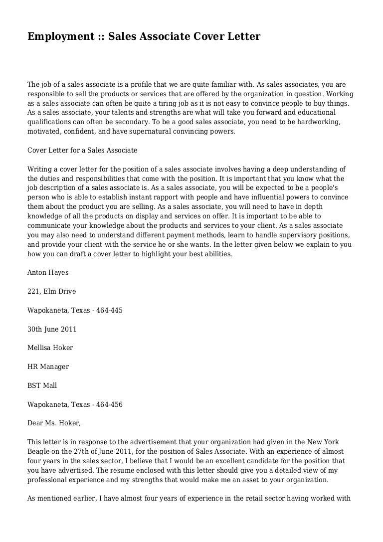 employment sales associate cover letter - Retail Sales Associate Cover Letter