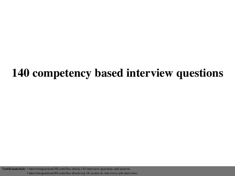 list of competency based questions