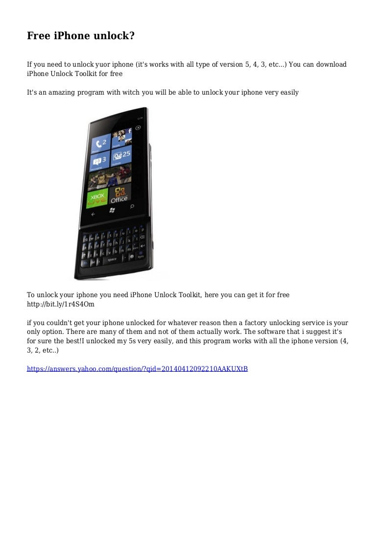 Free iPhone unlock?