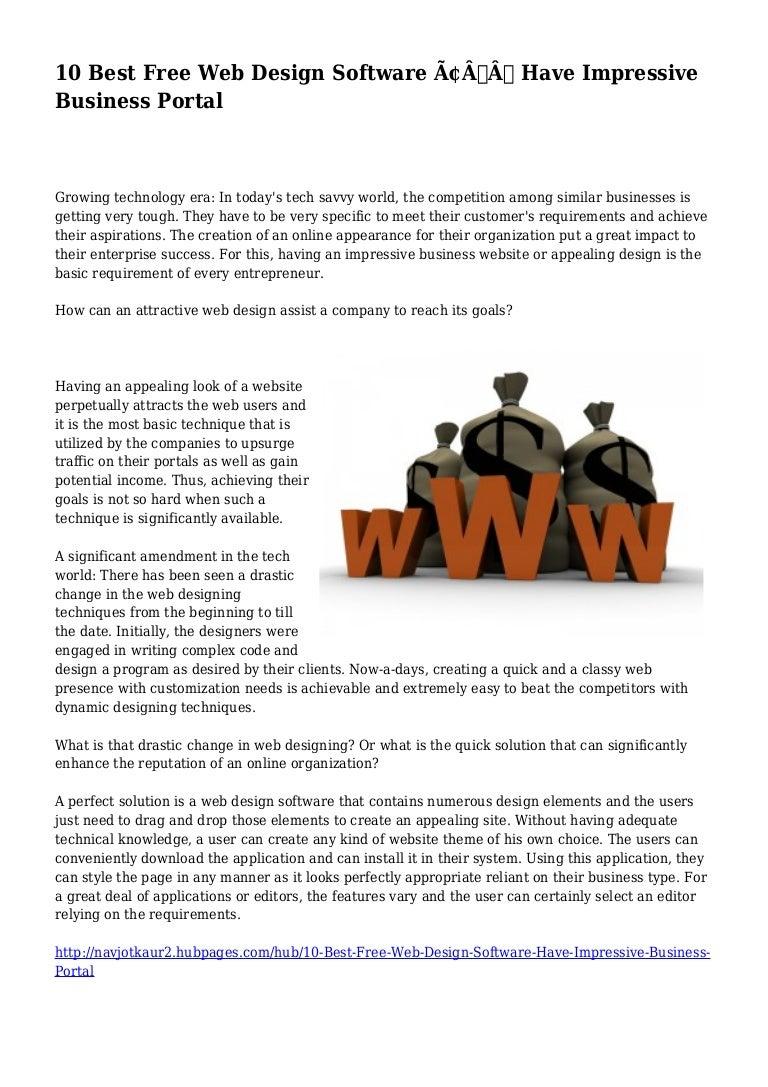 10 Best Free Web Design Software Have Impressive Business Portal