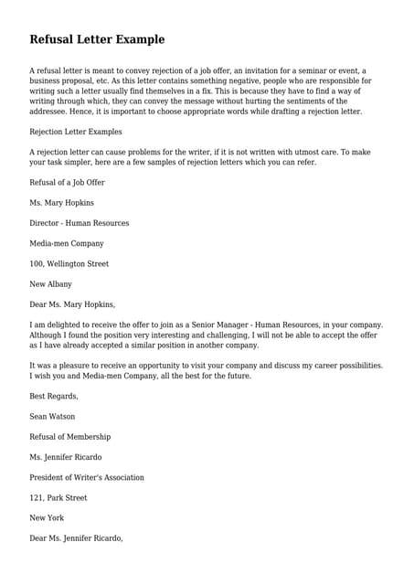 Vendor rejection letter