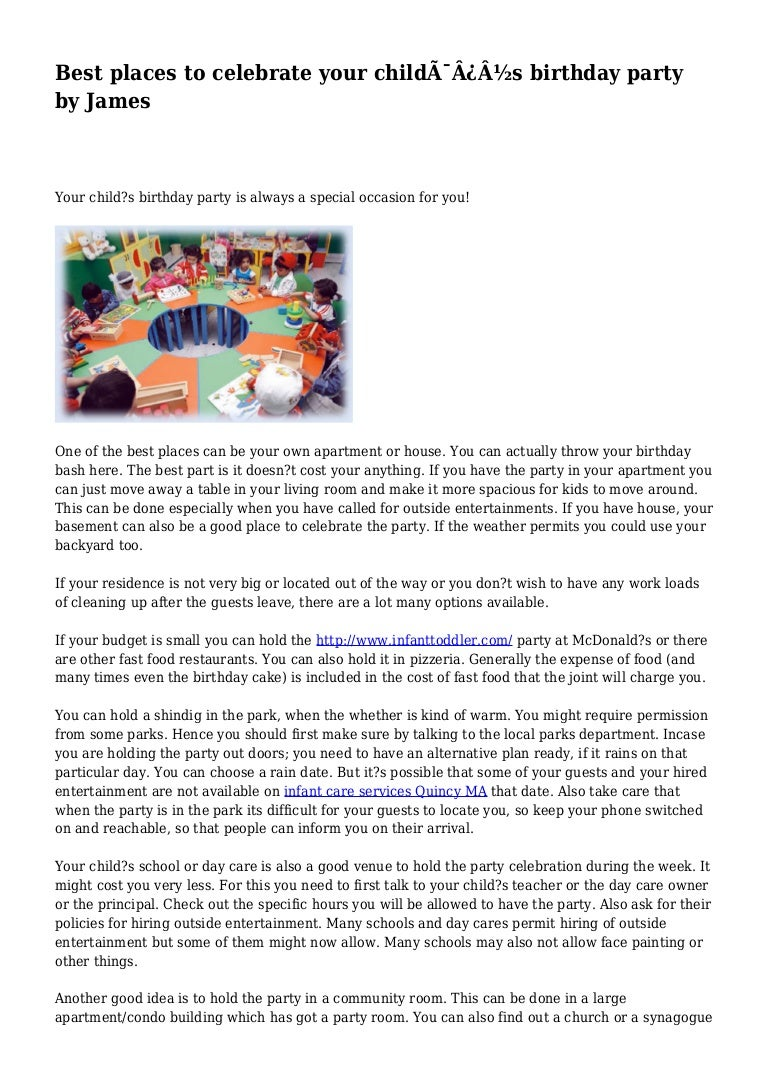 Best places to celebrate your child s birthday party by James
