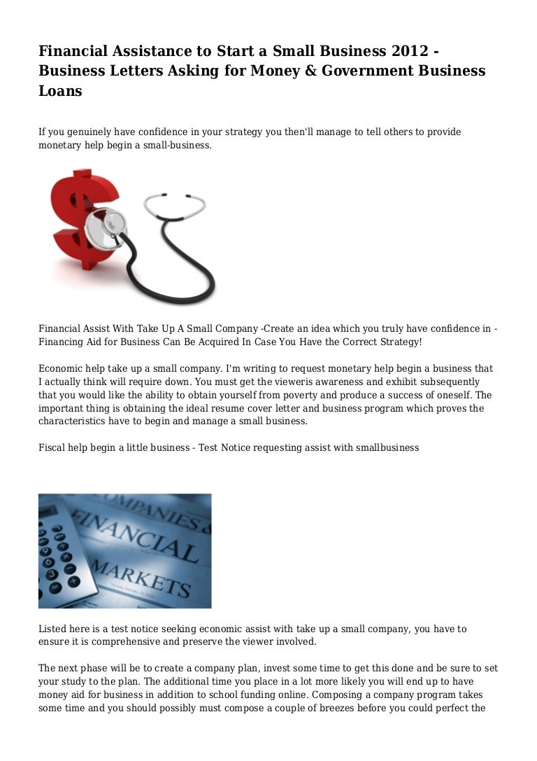 Financial Assistance To Start A Small Business   Business Letter