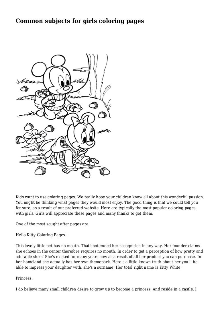 Common subjects for girls coloring pages