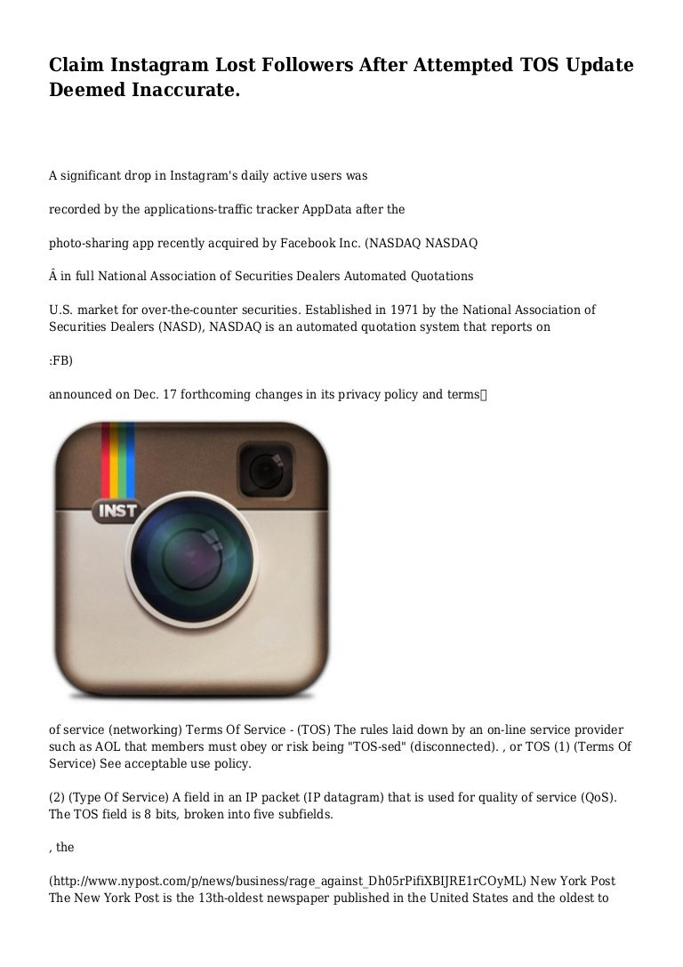 Claim Instagram Lost Followers After Attempted TOS Update