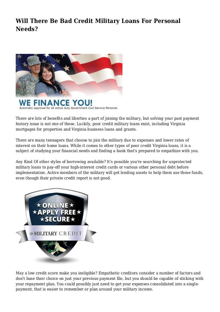 Bad Credit Military Loans >> Will There Be Bad Credit Military Loans For Personal Needs