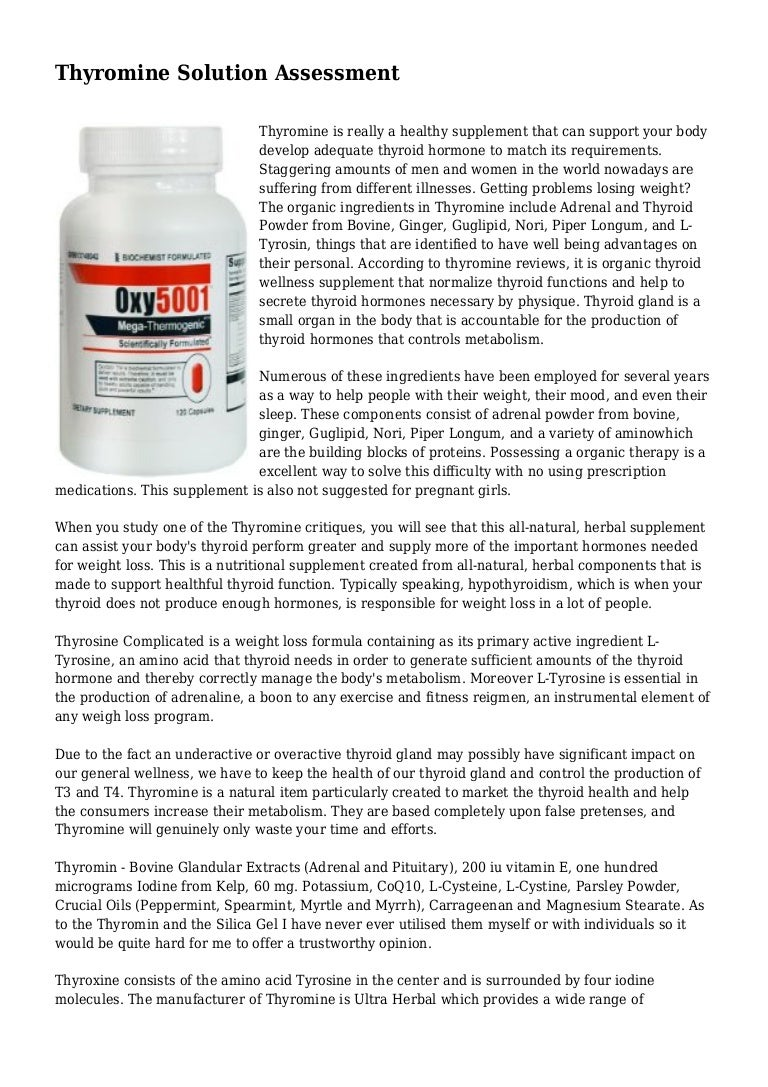 Thyromine Solution Assessment