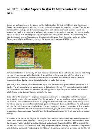 An Intro To Vital Aspects In War Of Mercenaries Download Apk