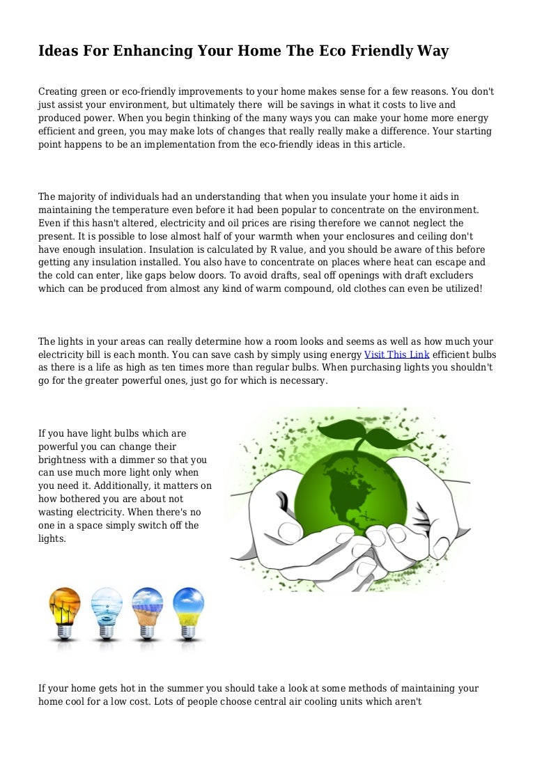 Ideas For Enhancing Your Home The Eco Friendly Way