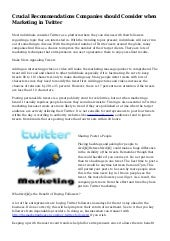 Crucial Recommendations Companies should Consider when Marketing in Twitter