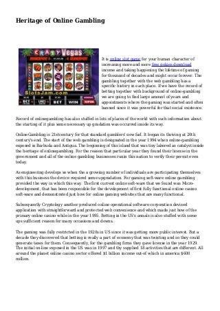 Heritage of Online Gambling