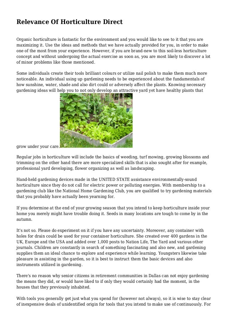 Relevance Of Horticulture Direct