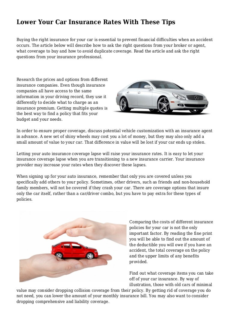 Lower Your Car Insurance Rates With These Tips