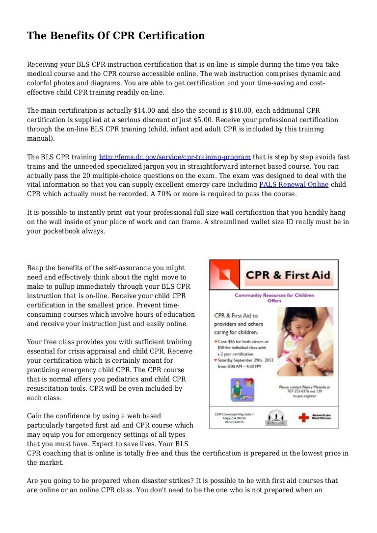 The Benefits Of Cpr Certification