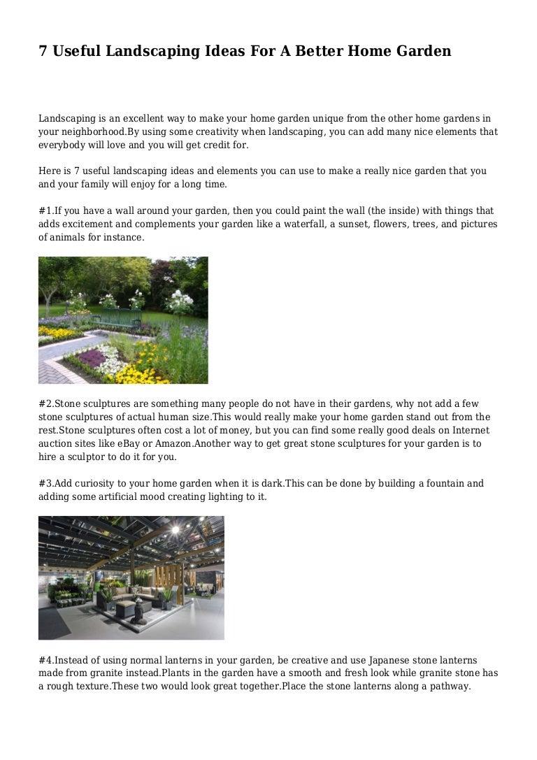 7 Useful Landscaping Ideas For A Better Home Garden