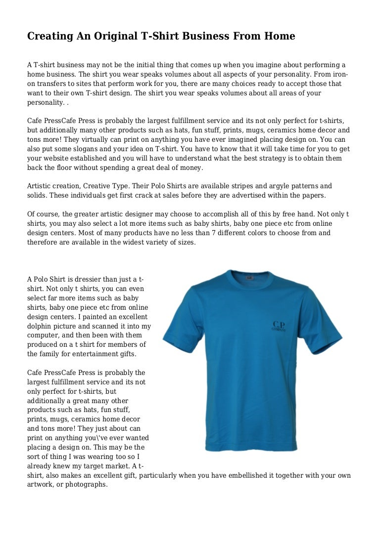 Creating An Original T-Shirt Business From Home