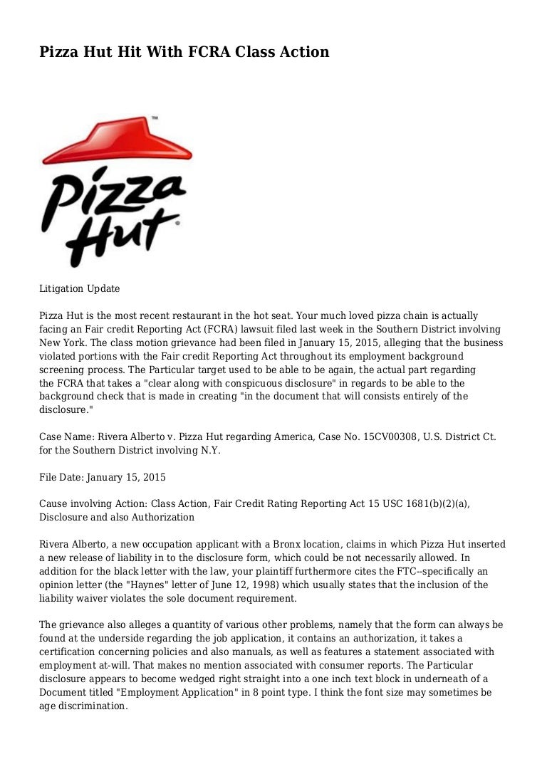 Pizza Hut Hit With FCRA Class Action