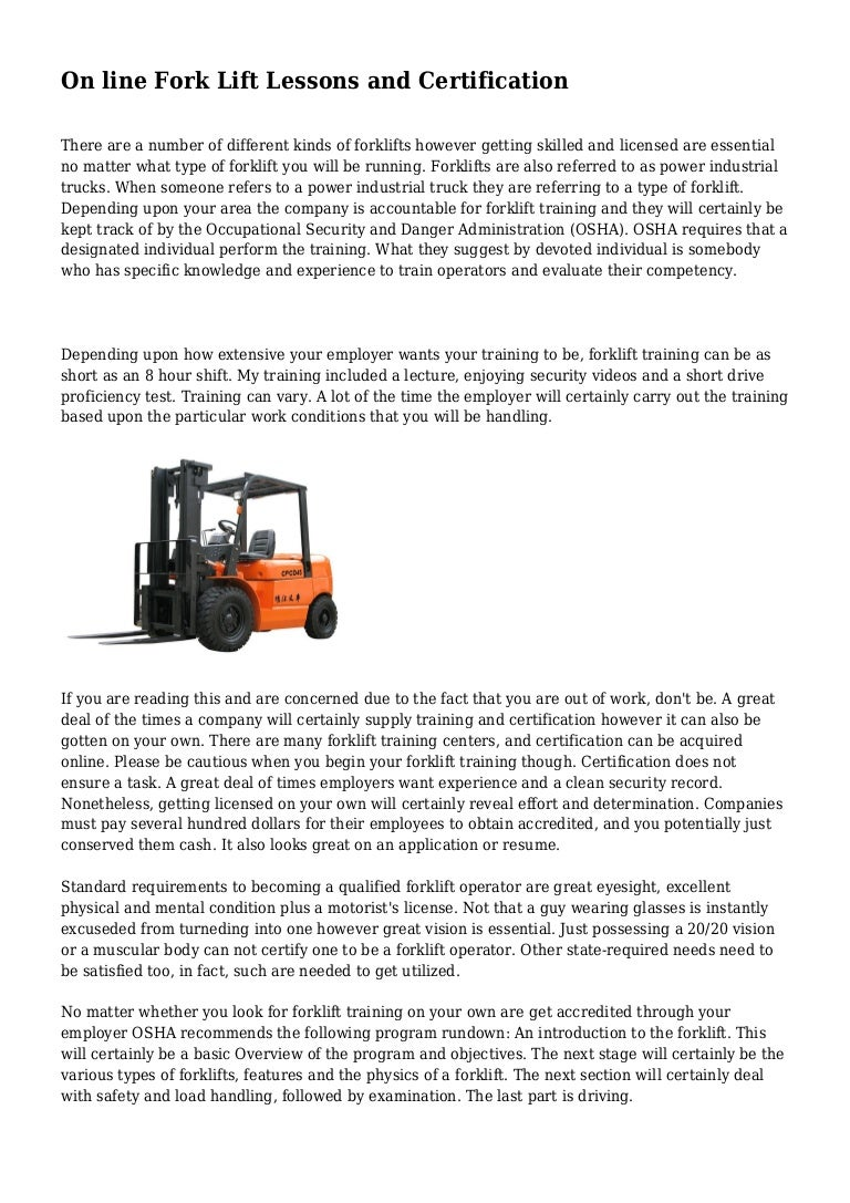 On Line Fork Lift Lessons And Certification