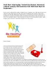 Yüksek Tansiyon Hastalarına Beslenme Uyarısı  Sağlık Haberleri