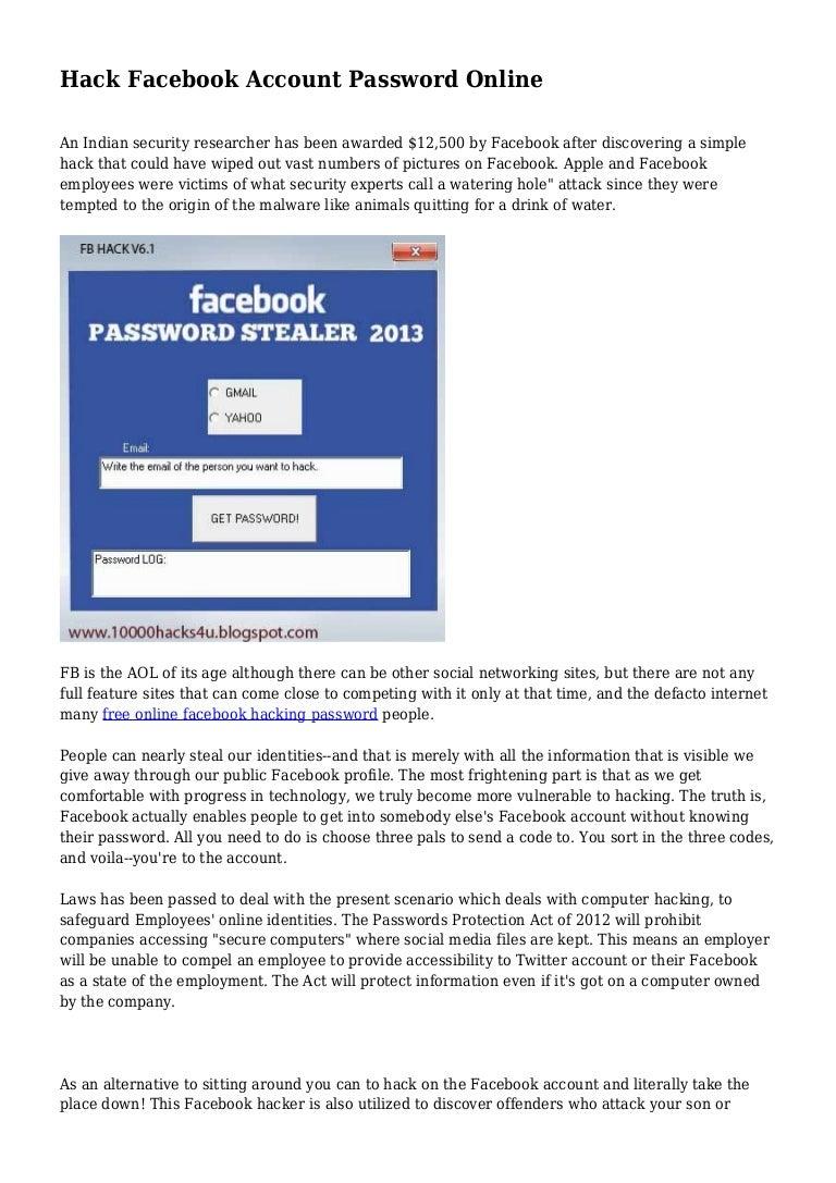 Hack Facebook Account Password Online