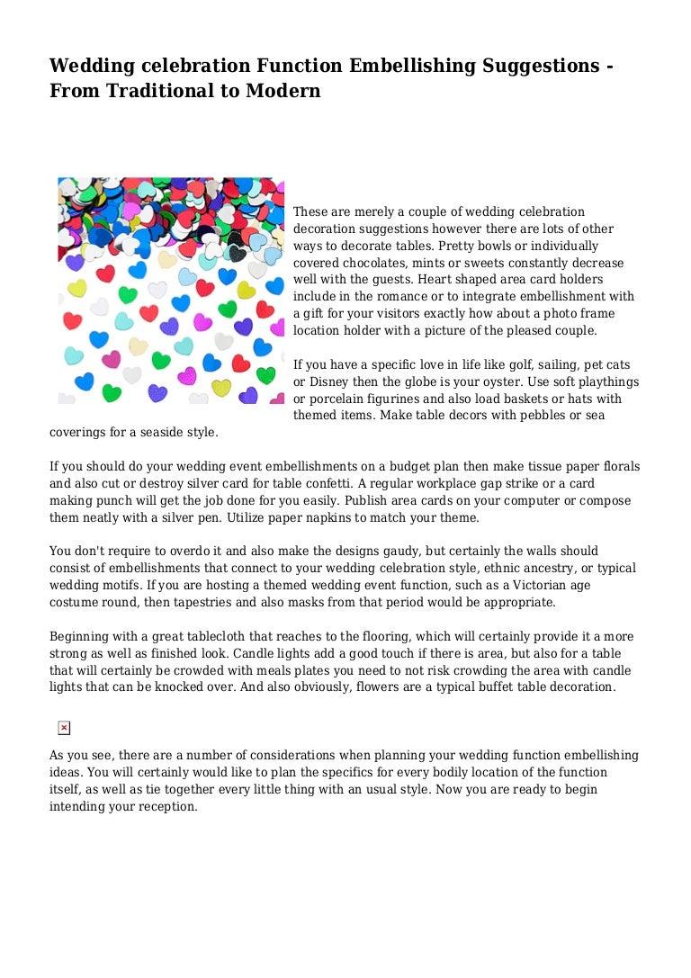 Wedding celebration Function Embellishing Suggestions - From Traditio…
