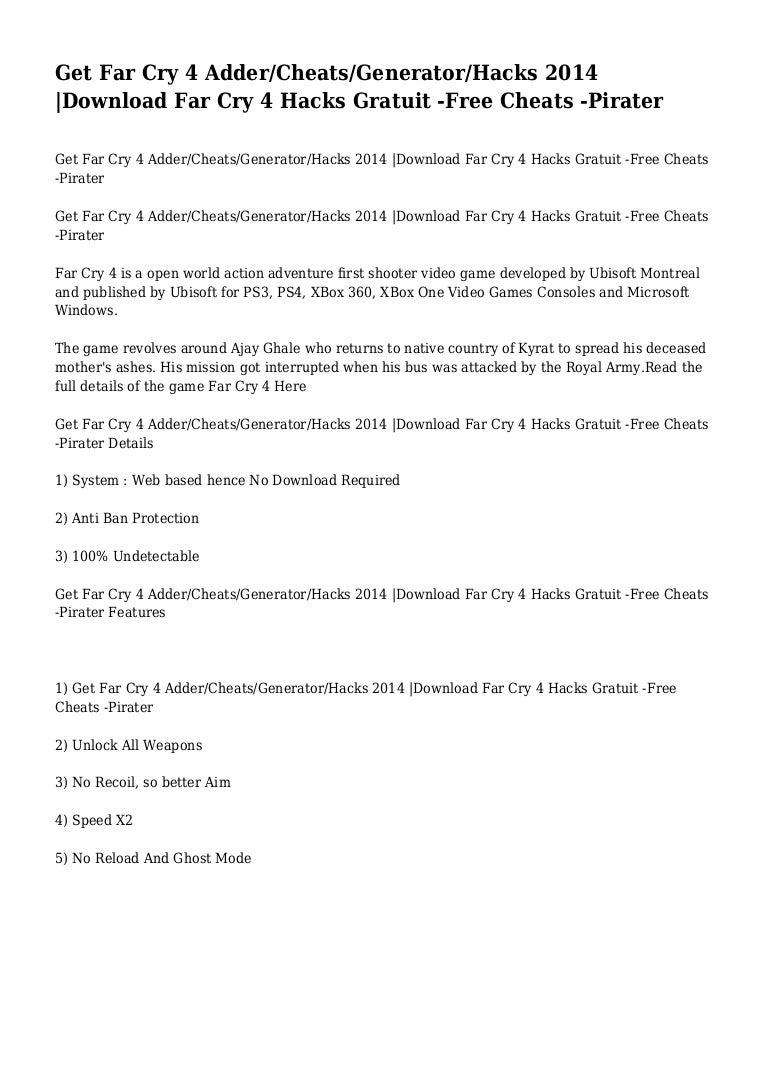 Get Far Cry 4 Adder Cheats Generator Hacks 2014 Download Far Cry 4 H