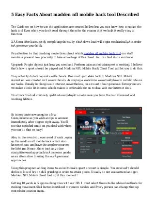 5 Easy Facts About madden nfl mobile hack tool Described