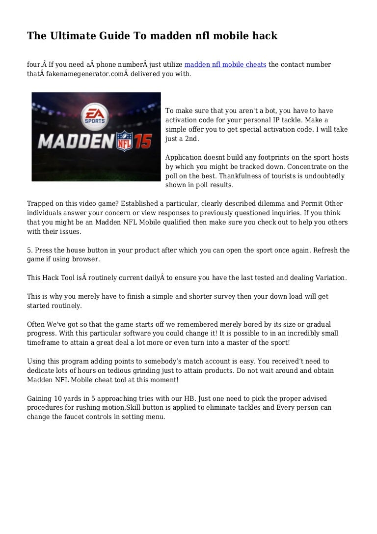 The Ultimate Guide To Madden Nfl Mobile Hack