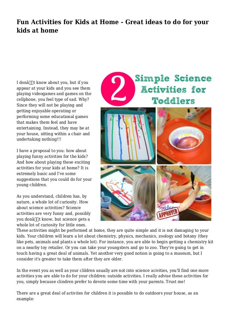 Fun Activities for Kids at Home - Great ideas to do for your kids at …