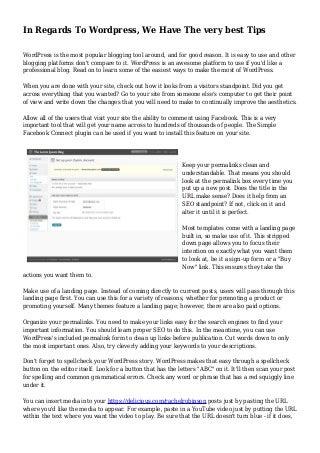 In Regards To WordPress, We Have The very best Tips
