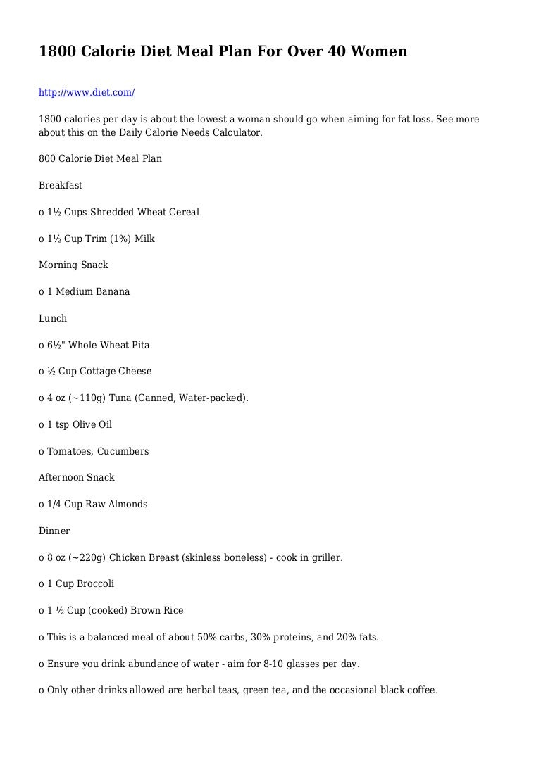 1800 Calorie Diet Meal Plan For Over 40 Women