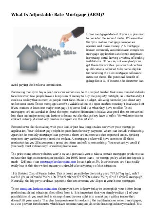 What Is Adjustable Rate Mortgage (ARM)?