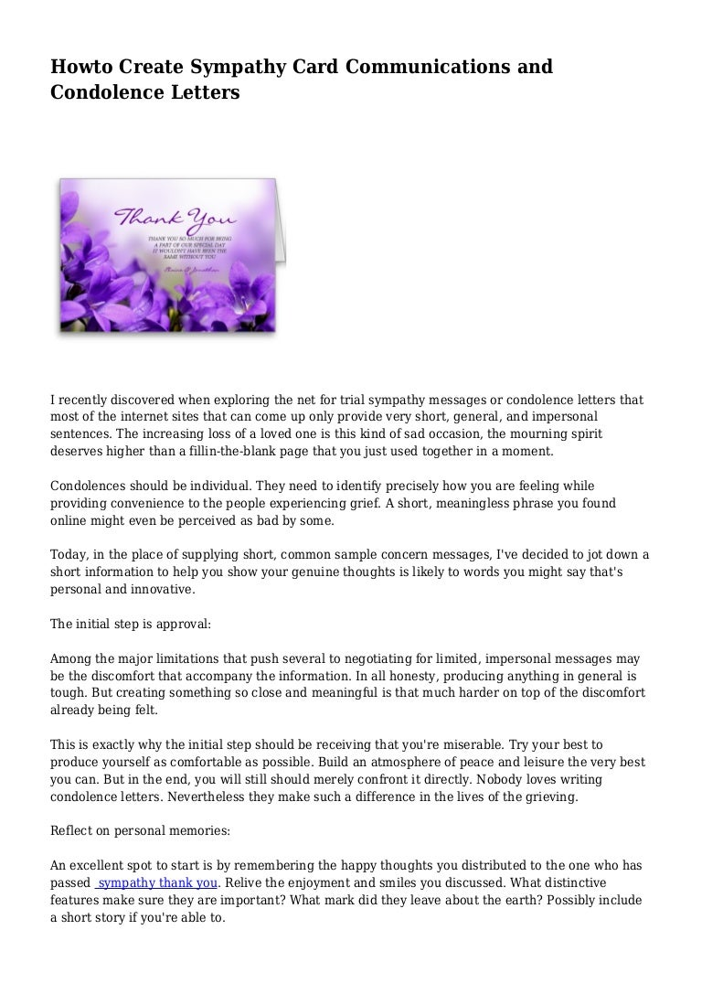 How To End A Condolence Letter – Condolence Letter Sample