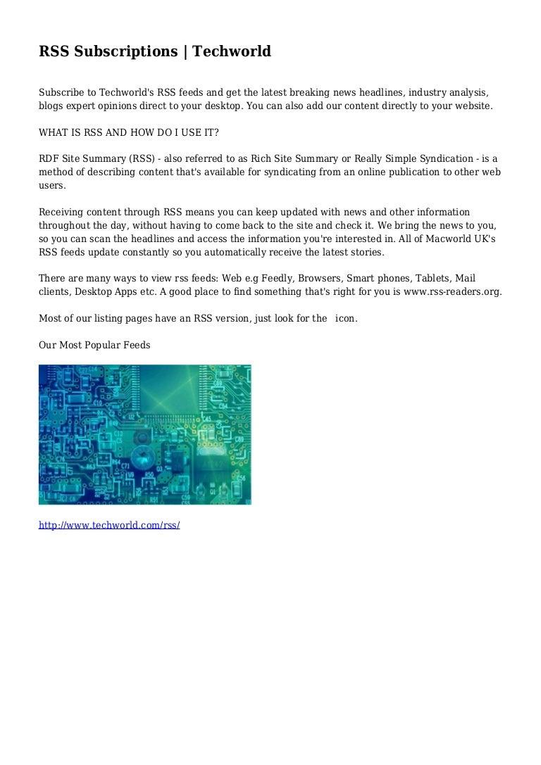 RSS Subscriptions | Techworld
