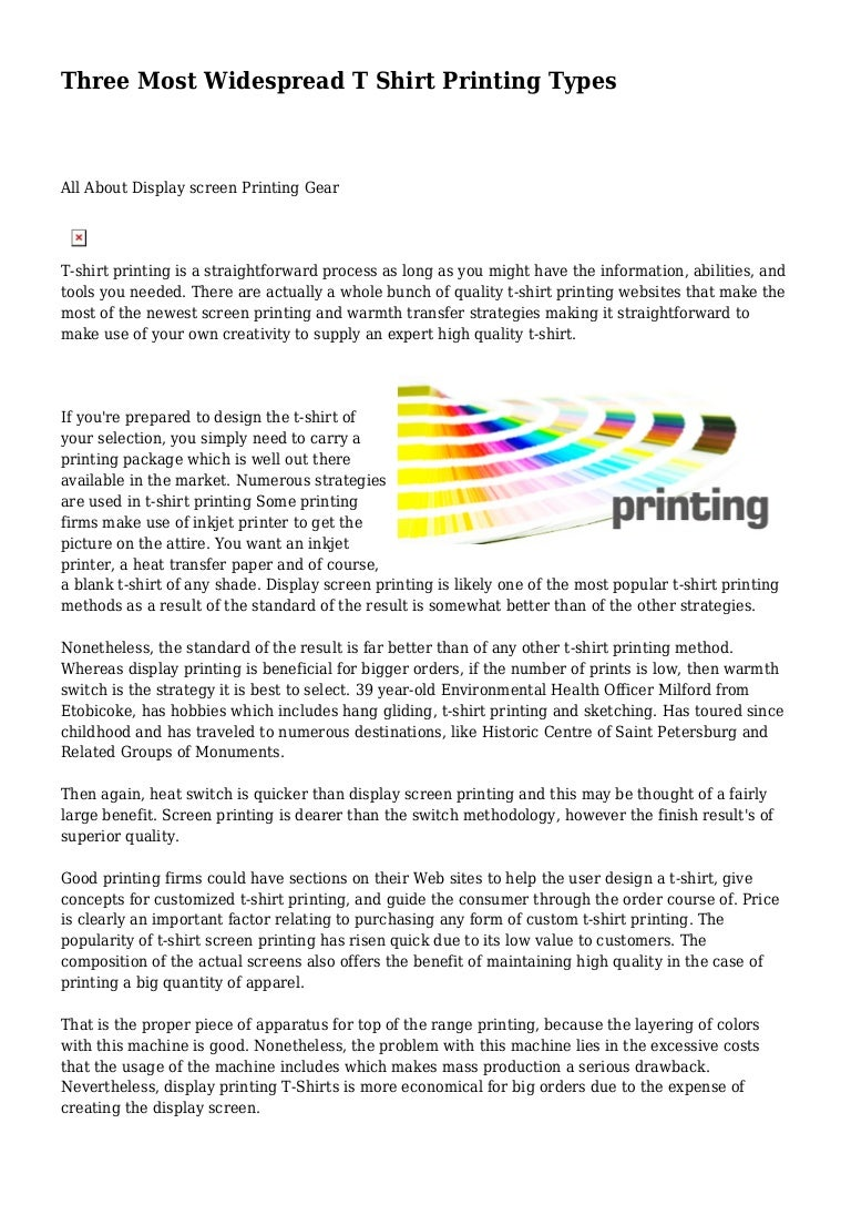 Three Most Widespread T Shirt Printing Types
