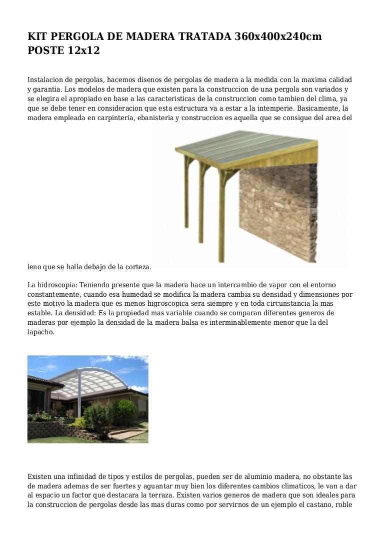 Kit Pergola De Madera Tratada 360x400x240cm