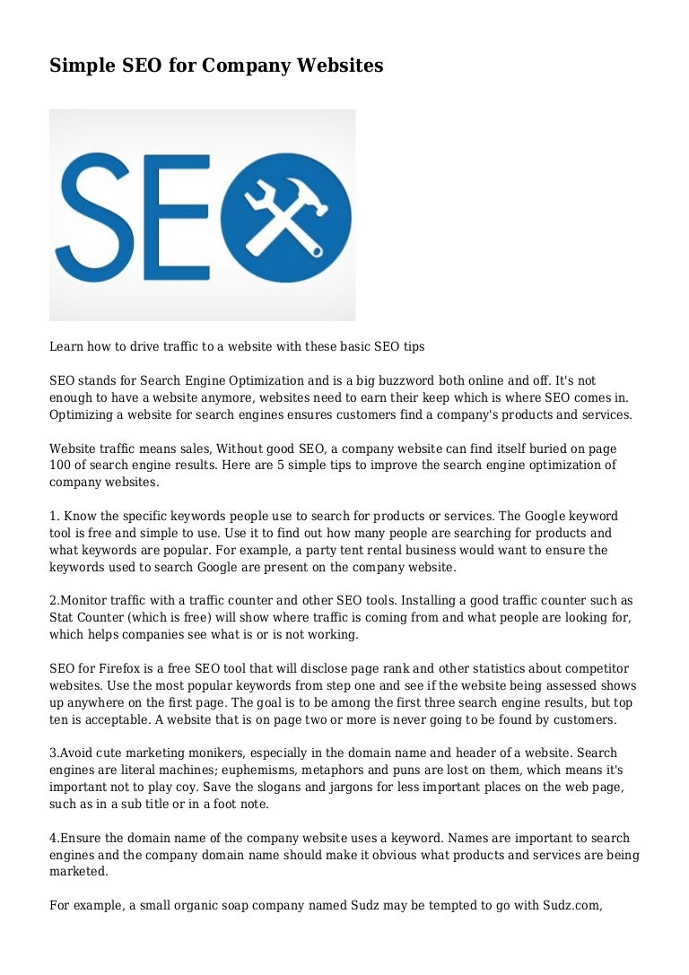 Simple SEO for Company Websites