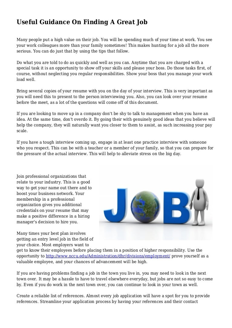 useful guidance on finding a great job