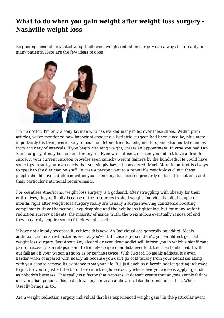 What To Do When You Gain Weight After Weight Loss Surgery Nashville