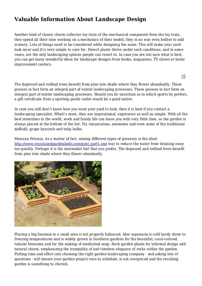 Valuable Information About Landscape Design