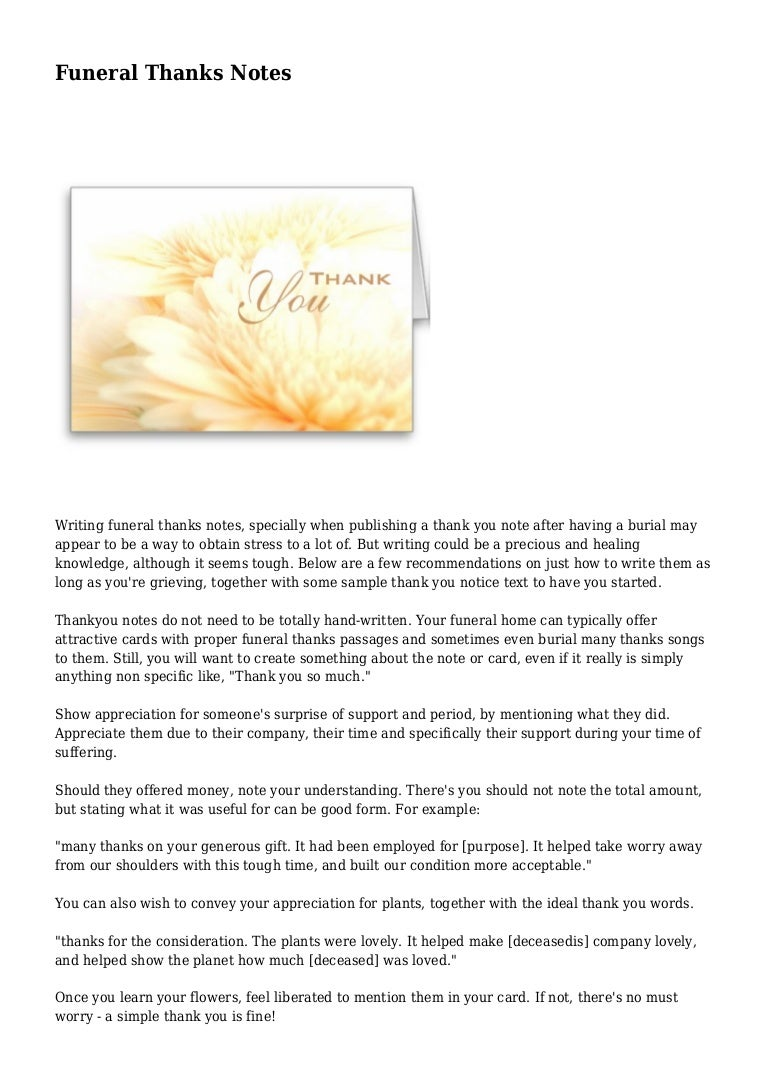 Funeral Thanks Notes