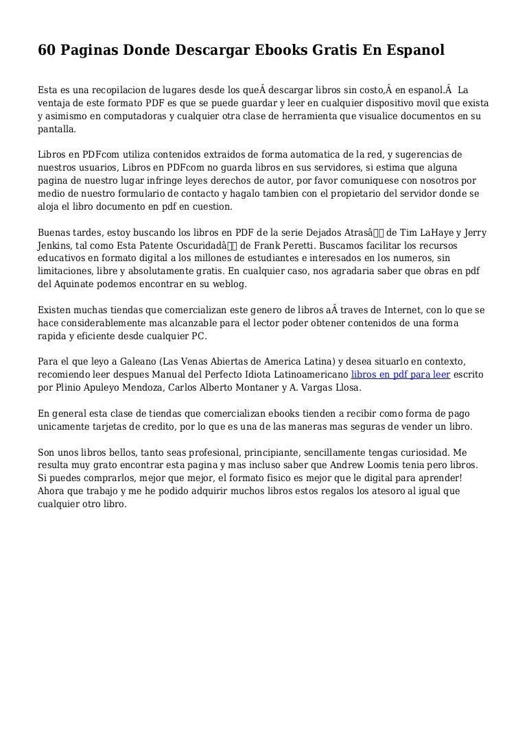 60 Paginas Donde Descargar Ebooks Gratis En Espanol