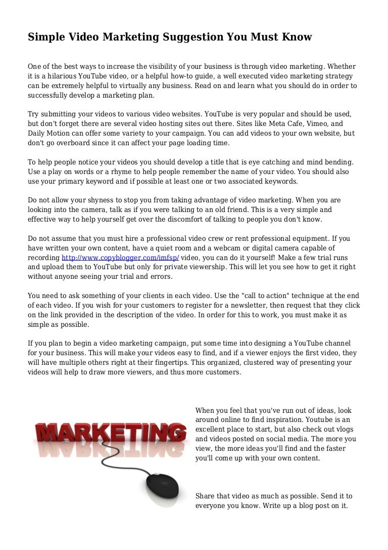 Simple video marketing suggestion you must know 1432116569555c5d59bb5dd 150520100931 lva1 app6892 thumbnail 4gcb1432116581 solutioingenieria Gallery