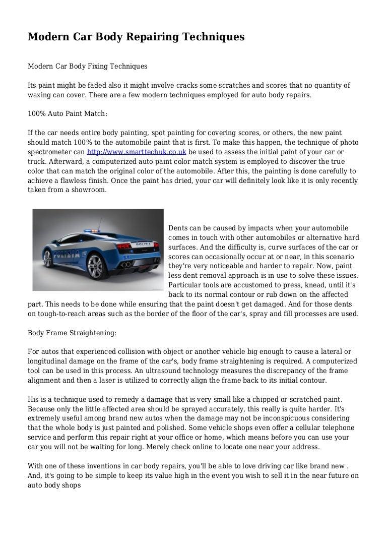 Modern Car Body Repairing Techniques