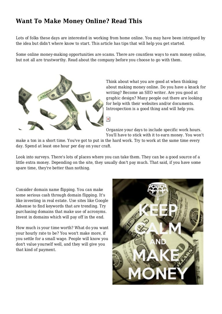 Want to make money online read this solutioingenieria Images