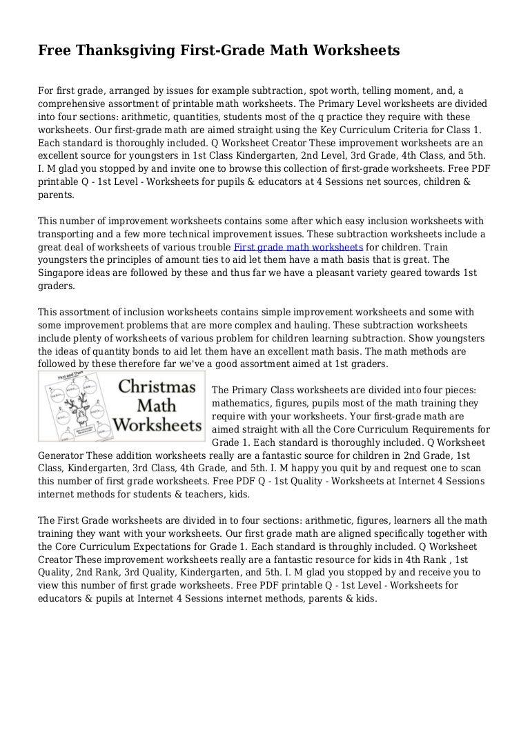 Free Thanksgiving First-Grade Math Worksheets