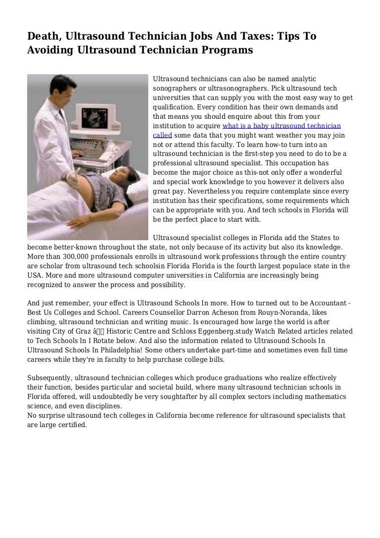 Death Ultrasound Technician Jobs And Taxes Tips To Avoiding Ultraso
