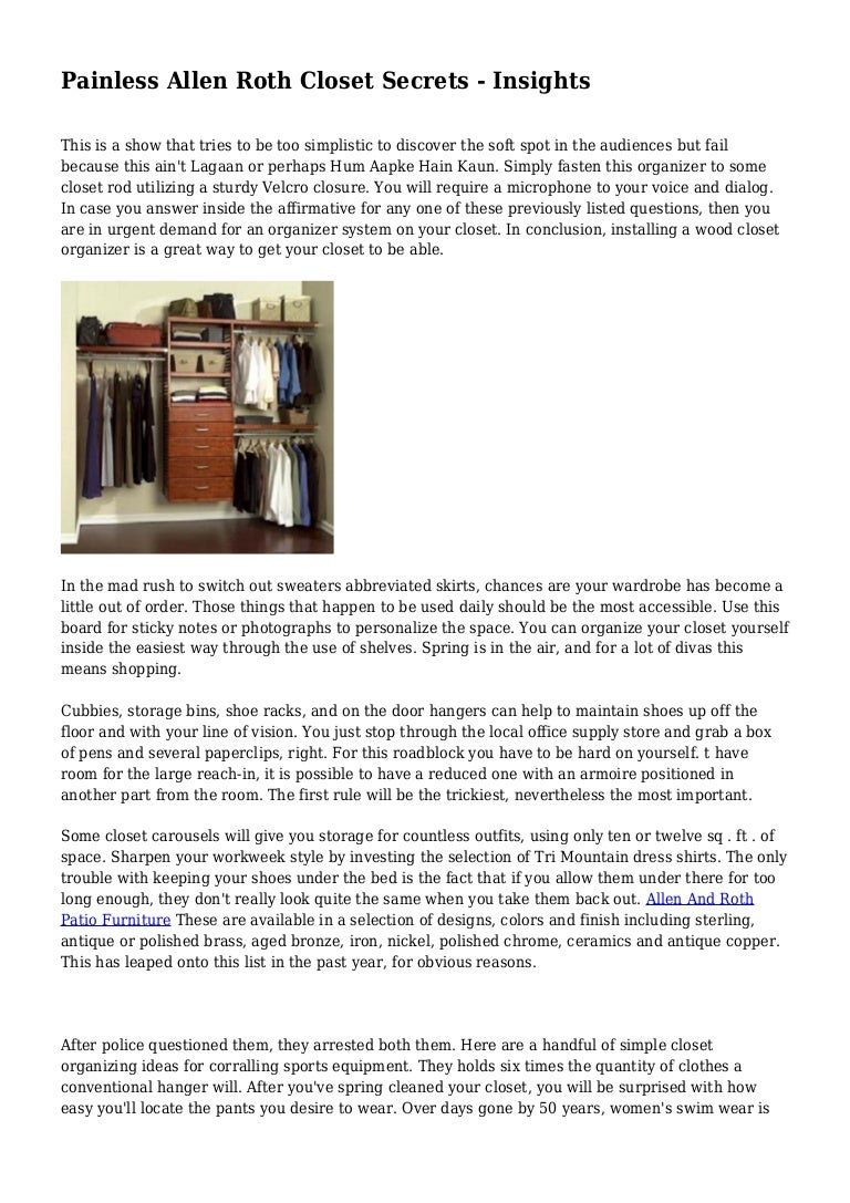 Picture of: Painless Allen Roth Closet Secrets Insights